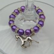 Horse Wine Glass Charm - Full Sparkle Style